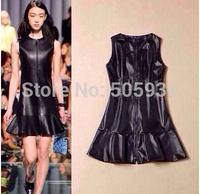 Cat Walk Big Brand PU Leather Dress Simple Grace Zipper Fishtail