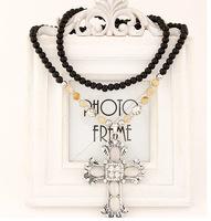 Min.Order $8.8(Mix Item) Hot New Design Vintage Retro Crystal Rhinestone Opal Cross Pendant Long Beads Necklace Women FN0373