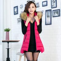2014 women's medium-long vest cotton vest female autumn and winter large fur collar with a hood down cotton vest outerwear