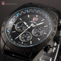 Shark Tachymeter Bezel Chronograph Black Blue Round Dial Quartz Analog Rubber Strap Sport Wrist Men Stainless Steel Watch /SH275