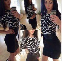 2014 autumn new style fashion women dress sexy leopard and black round neck Sleeve Chiffon Dress free shipping