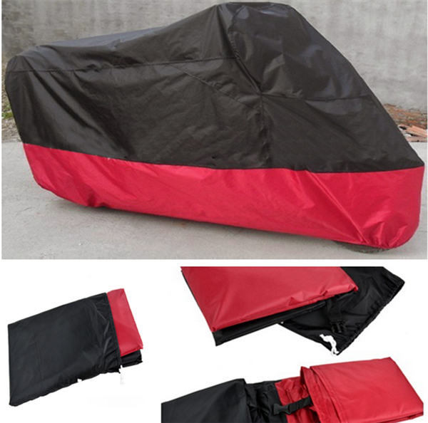NEW Hot Sale XL Outdoor Motorcycle Motorbike Bike Waterproof Rain Vented Cover Extra Large Black And Red(China (Mainland))