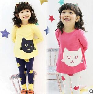 2014 Girls Sets Kids Apparel 3~10Age cats Children spring+autumn 2pcs Set girls clothing sets shirt +pants sport baby clothes(China (Mainland))