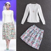 2014 autumn sunday angora yarns white top butterfly print midi skirt suit