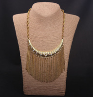 Exaggerated vintage metal chains tassels choker necklace with rhinestones women circle pendant antique gold/silver x482