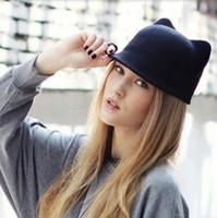2015 New Autumn Winter Punk Fashion Women Girls Devil Hat Cute Kitty Cat Ears Ladies Wool Fedora Hat Derby Bowler Cap M00011R