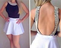 summer dress 2014 vestidos women dress Handmade pearl dress 2PIEC casual plus size bandage dress