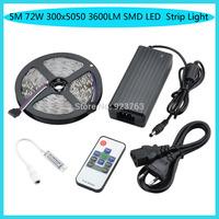 No Waterproof 5M 72W 3000LM 300x5050 SMD Mini RGB Light LED Strip Light Kits(DC 12V )