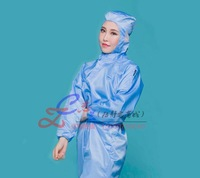 2015 Antistatic conjoined Clean with cap Clean rooms Sterile protective Spray paint clean overalls against ebola Send shoes