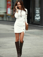 2014 Ladies Elegant Winter Long Sleeve Buttons Slim Hip Casual Autumn Dress Bodycon Dresses Women Work Wear OL Dress Vestidos