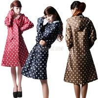 Hot Sale Women Polka Dots Outdoor Travel Waterproof Riding Clothes Raincoat Poncho Hooded Knee Length Rainwear B22 CB031943