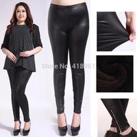 New 2014 fashion punk disc faux leather leggings for women winter PLUS size warm bershka Ladies leather pants free shipping