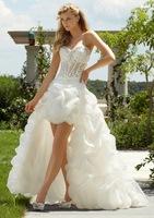 Free shipping 2014 Hot Embroidery Bra Ivory / white high/Low dress Court Train trailing fashion wedding dress
