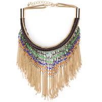 2014 vintage long beads bohemian necklace for women brand za newest design fashion jewelry statemen necklace