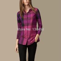 Free Shipping 2014 New Fashion Womens Tops Casual Blouse Turndown Collar Long Sleeve Plaids Print Pattern Flannel Shirt S-XXL