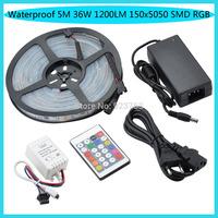 Waterproof 5M 36W 1200LM 150x5050 SMD RGB Light LED Strip Light Kits(DC 12V )
