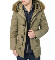 Male down coat 2014 down coat male slim medium-long down outerwear plus size
