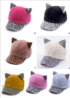 Women fashion winter cat ears rabbit hair stylish hat baseball cap