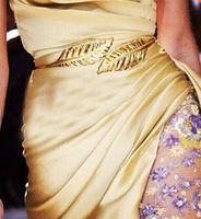 2014 new free vintage accessorie europe unique design luxury queen maple leaf wide light gold waist elastic belt for women brand