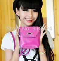HOT EU 2014 New Fashion Cartoon Beard Mini PU Shoulder Bag Wild Women Casual Candy Color Cross Body Messenger Bag Free Shipping
