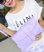 New Fashion Women's PU Candy Color Double-deck HandBag Casual Cross Body Messenger Bag Belts Bag Free Shipping TFH