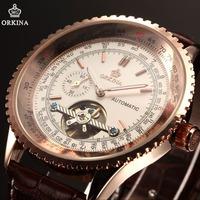 ORKINA Luxury Gold Tourbillion Automatic Mechanical Steampunk Mens Sport Watch