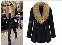 Pasi Simmel 2014 new winter Slim thin woolen coat fur collar and long sections woolen coat