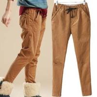 roupas femininas 2014 New fall winter corduroy drawstring women harem pants high waist Silm casual trousers