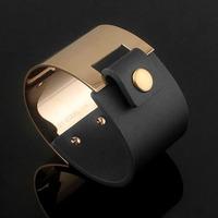 Fashion Luxury wide half leather  Bangles Titanium punkRose Gold Bracelet Bangle Jewelry Women Acessories