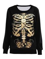 2014 Autume Winter Women Pullover Shining Galaxy Black Bone Hoodies Digital Print Loose Sweatshirts