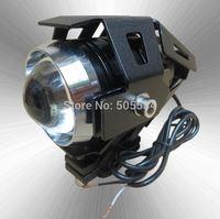 1 pair U5 Cree Led Motorcycle lamp BLACK Shell Projector lens Spotlights headlights Motorbike driving warning flash Fog lights