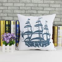 Home Furnishing cloth cotton hug pillowcase navigation series of Mediterranean style sailing back cushion  X042