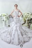 2015 luxury High-Quality Wedding Dresses Mermaid Embroidery  Crystal Beaded Gig Train Wedding Gowns