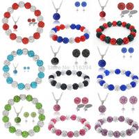 Wholesale Fashion Stretch Elastic Crystal Shamballa Set Pendant Necklace+Bracelet+Earring Jewelry Set 10MM Disco Ball Mix Colors