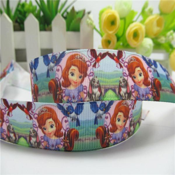 Midi-PG022-4038 New arrival 7/8'' (22mm) Princess Sofia printed grosgrain ribbon make bow(China (Mainland))