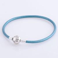 bracelet silver 925 sterling bracelests for women skyblue genuine leather bracelet men PL304 wholesale