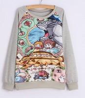 2015 New winter Hoody women Casual hoodies lovely animals  fleece inside long sleeve o neck letters sweatshirt for women