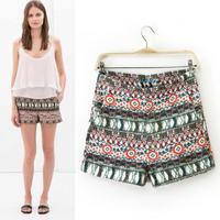 roupas femininas 2014 New fall winter flower printed shorts women medium waist Silm casual short pants
