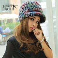 2014 hat female cap rex rabbit hair fur hat winter women's hat