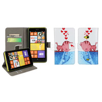 Creative Cartoon Cat kiss fish pattern flip PU leather phone case bag Card Holder Wallet Stand cover For Nokia Lumia 625