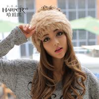 Winter thermal gentlewomen elegant type rabbit fur cap yarn ball fur hat ear protector cap