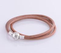 bracelet silver 925 sterling bracelests for women coffee genuine leather bracelet men PL305-62 free shipping