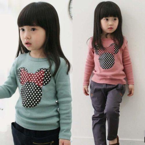 New Kids Toddler Clothes Girls Polka Dot Long Sleeve Casual T Shirt Blouse Tops(China (Mainland))