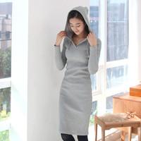 Autumn and winter hot fashion 2014 women long-sleeve hoodies slim sports casual plus size knit basic sweatshirt one-piece dress