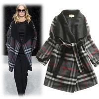 Top Sale 2014 Winter New Brand Women Wool Blends Fashion Plaid Lady Overcoat Female Windbreaker Clothing Free Shipping W1469