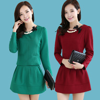 Elegant women's 2014 elegant slim o-neck long-sleeve twinset skirt fashion skirt