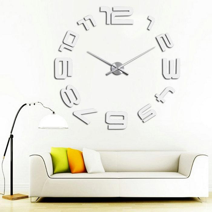 DIY Large Wall Clock 3D Mirror Modern DIY Large Wall Clock 3D Sticker Metal Big Watches Home Decor Gift