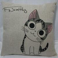 "abc 1pcs Cotton Linen Retro Hold Cushion Cover Waist Pillowcase  DECORATIVE PILLOW 18"" print cat"