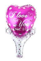 I love you Heart stick hand holder bang sticks noise maker (cannot float) Inflation Toys 60pcs Valentine;s Days