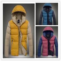 Mens Parka Hood Winter Coat Contrasted Color 2014 New Man Parkas Jacket Outwear Size m l xl xxl xxxl